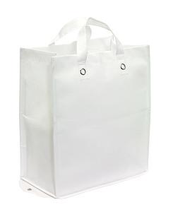 Velká skládací nákupní taška z netkané textilie, bílá