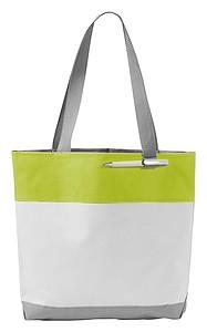 Nákupní taška z polyesteru s poutkem na propisku, bílá, světle zelená