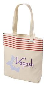 Béžová nákupní taška, červené proužky