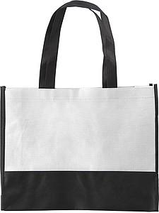 ARMOR Nákupní taška z netkané textilie s černým dnem, bílá