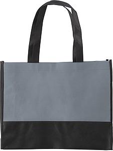ARMOR Nákupní taška z netkané textilie s černým dnem, šedá papírová taška s potiskem