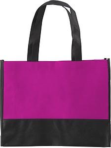 ARMOR Nákupní taška z netkané textilie s černým dnem, růžová
