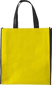 ASUKA Nákupní taška z netkané textilie s černými boky, žlutá