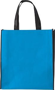 ASUKA Nákupní taška z netkané textilie s černými boky, sv. modrá papírová taška s potiskem