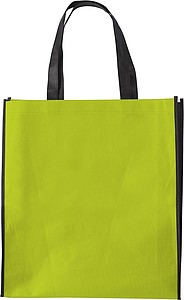 ASUKA Nákupní taška z netkané textilie s černými boky, sv. zelená