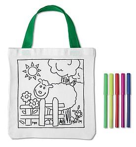 MATES Bavlněná taška s omalovánkou, 5 barevných fixů