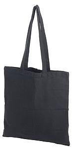 Nákupní taška s dlouhými uchy, recyklovaná bavlna a polyester, černá