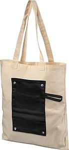 Srolovatelná taška s přední barevnou nášivkou, černá