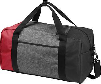 Šedočerná menší sportovní taška a barevnou částí, červená