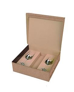 VS PAPUA Sada na bílé víno, krabice s prostorem pro láhev + 2 sklenice papírová taška s potiskem