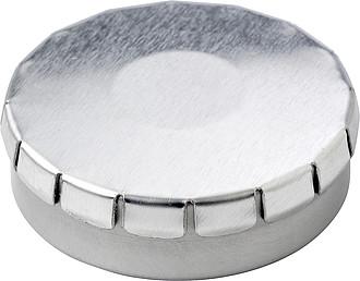 KAPSÍK Krabička stříbrná na mintové bonbony s bonbony