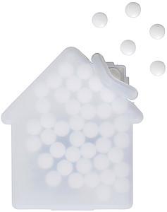 Mint karta ve tvaru domečku, s bonbony, bílá