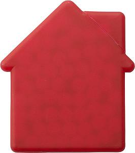 Mint karta ve tvaru domečku, s bonbony, červená