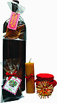 Dárková sada s medovinou, medová pochoutka, svíčka, františky