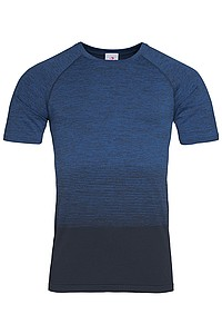 Pánské tričko STEDMAN ACTIVE SEAMLESS RAGLAN FLOW MEN, černá/nám. modrá L - reklamní čepice