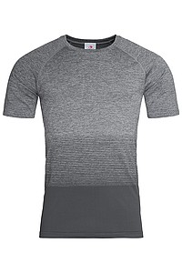 Pánské tričko STEDMAN ACTIVE SEAMLESS RAGLAN FLOW MEN, černá/světle šedá XL - reklamní trička
