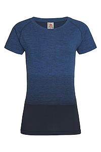 Dámské tričko STEDMAN ACTIVE SEAMLESS RAGLAN FLOW, černá/námořní modrá, L - reklamní trička
