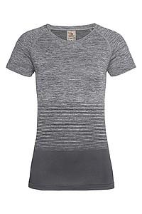 Dámské tričko STEDMAN ACTIVE SEAMLESS RAGLAN FLOW, černá/světle šedá, L