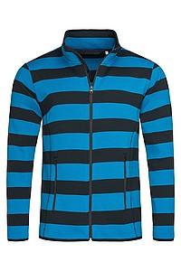 Pánská mikina STEDMAN STRIPED FLEECE JACKET MEN, černá/král. modrá, L - reklamní trička