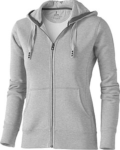Mikina ELEVATE ARORA HOODED FULL ZIP LADIES SWEATER šedý melír M