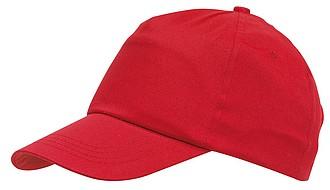 Pětipanelová čepice se zapínáním na suchý zip, červená