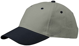 ELIF Šedá šestipanelová čepice s modrým kšiltem