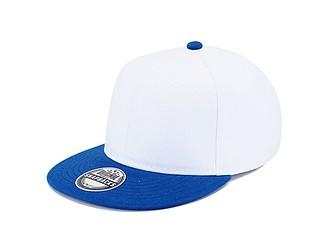 RARAKU Šestipanelová čepice s rovným kšiltem, bílá/královsky modrá