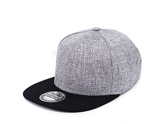 TAMURA Šestipanelová čepice s vyztuženým čelem a plochým kšiltem, šedý melír/černá - reklamní čepice