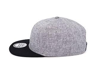 TAMURA Šestipanelová čepice s vyztuženým čelem a plochým kšiltem, šedý melír/černá
