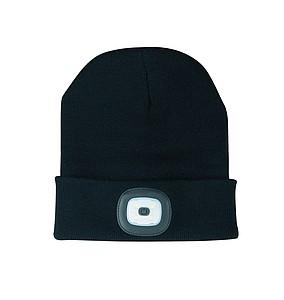 ROTONDO Pletená čepice s odjímatelným LED světlem, černá