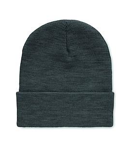 Pletená čepice z RPET s ohnutým okrajem, bílo šedá