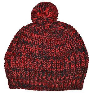 SCHWARZWOLF MALASPIN Pletená čepice s bambulkou a fleecovou podšívkou, červená