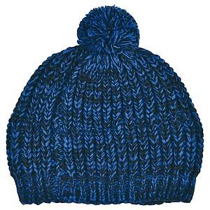 SCHWARZWOLF MALASPIN Pletená čepice s bambulkou a fleecovou podšívkou, modrá - reklamní čepice