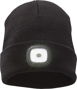 Pletená čepice s LED čelovkou, černá