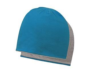 ANOMANDER Oboustranná hladká zimní čepice, tyrkysová/šedá - reklamní čepice