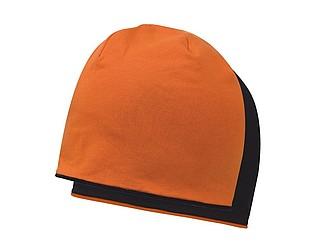 ANOMANDER Oboustranná hladká zimní čepice, oranžová/černá