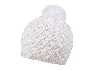 Pletená zimní čepice s výrazným vzorem, bílá - reklamní čepice