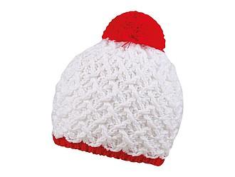 Pletená zimní čepice s výrazným vzorem, bílá/červená