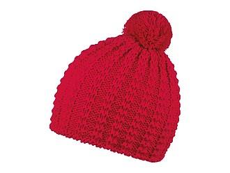 KORNELA Pletená zimní čepice s bambulí ve stejné barvě, červená