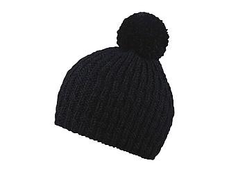 LORINA Pletená zimní čepice, 30% vlněná příze, černá