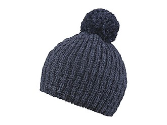 LORINA Pletená zimní čepice, 30% vlněná příze, tmavě šedá - reklamní čepice