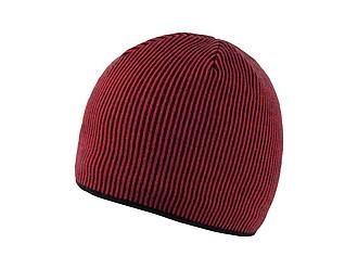 SINGIDA Zimní akrylová čepice s barevnými proužky, červená - reklamní čepice