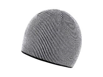 SINGIDA Zimní akrylová čepice s barevnými proužky, bílá - reklamní čepice