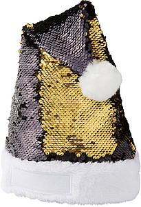 Vánoční čepec s flitry, černá/zlatá