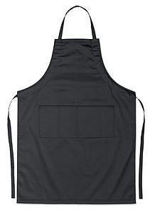 WOJERA Nastavitelná kuchyňská zástěra se dvěma předními kapsami, černá