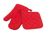 ROLDY Sada kuchyňské chňapky a rukavice, červená