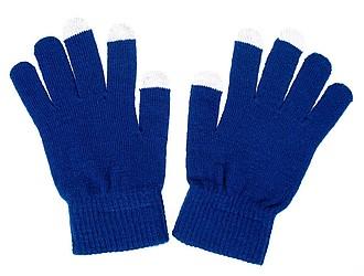 Rukavice s úpravou pro kapacitní displeje, modrá, bez černého štítku