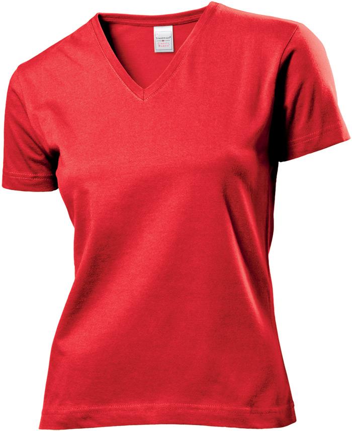 Tričko STEDMAN CLASSIC V-NECK WOMEN červená S - reklamní trička 32766eb0c3