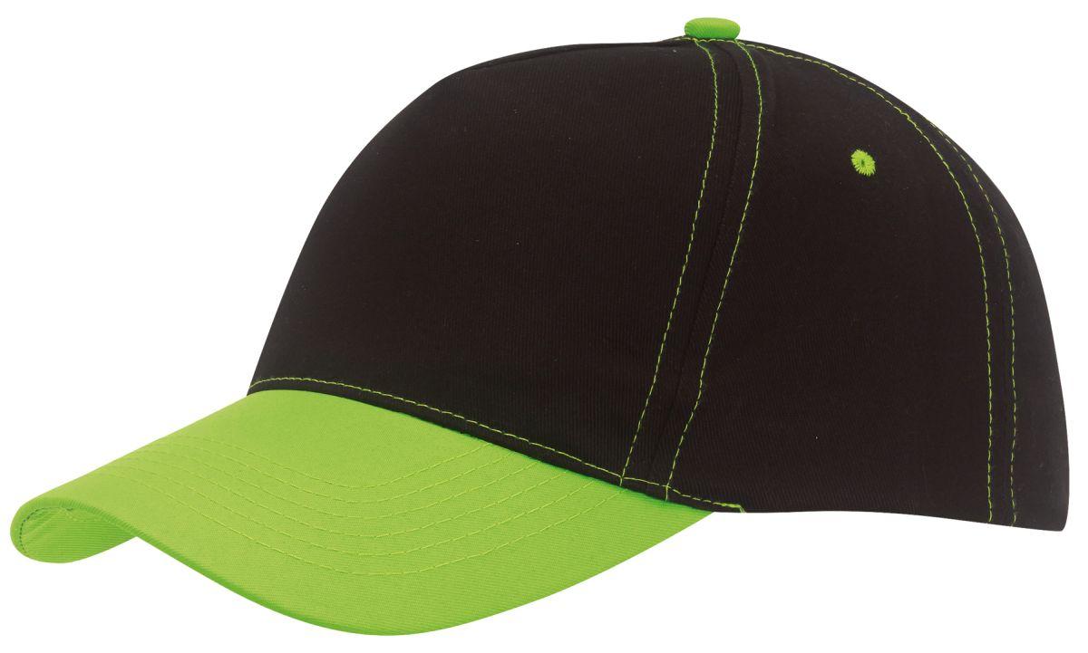Pětipanelová černá kšiltovka se zeleným prošíváním a kšiltem - reklamní  čepice 6ee77231be