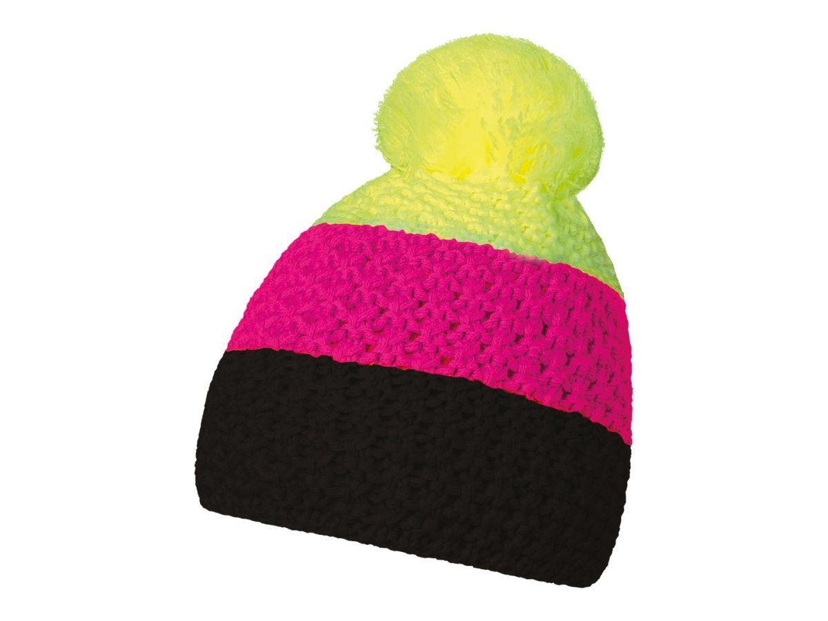 HEJDUK Tříbarevná pletená čepice s bambulkou a4700de5f5